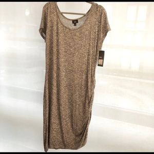 NWT Mossimo Heather Grey Knit Ruched Dress